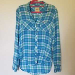 Rhinestone collar plaid buttondown shirt